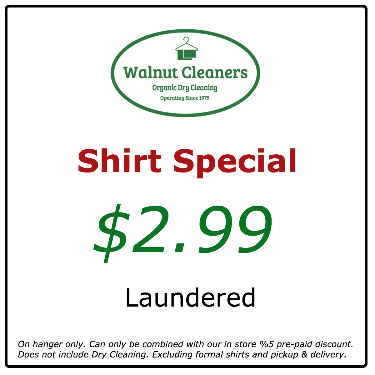 Laundered shirt special web